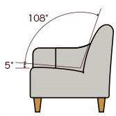 ソファの座面の角度