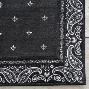 洗えるシェニールプリントラグ『バンダナボーダー』ブラック
