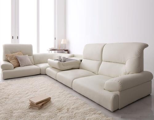 白レザーフロアソファーWHITE