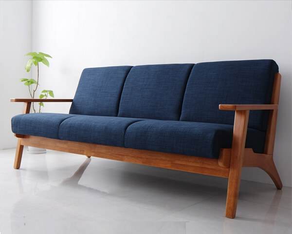 北欧デザイン木肘ソファ【Lulea】ルレオ 3人掛け ネイビー