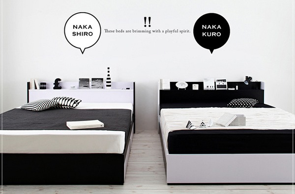 モノトーンモダンデザイン 棚・コンセント付き収納ベッド【MONO-BED】モノ・ベッド