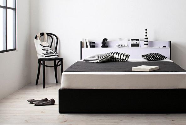 モノトーン収納ベッド シンプルモダンインテリア実例