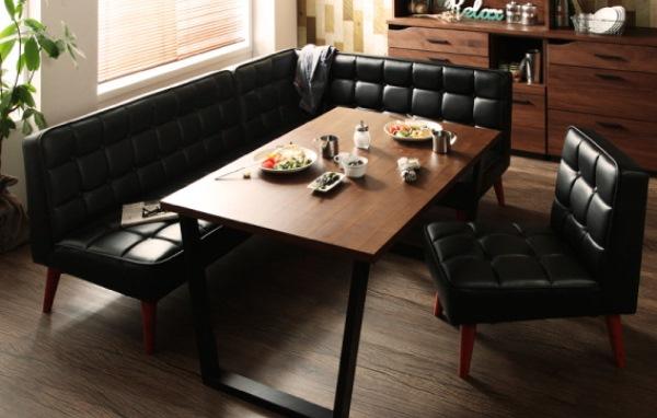 黒いソファのダイニングソファーセットCISCOシスコ
