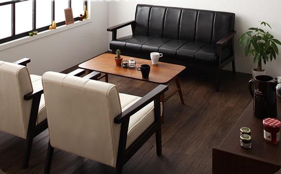 木肘ソファでカフェスタイル