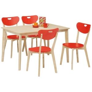 赤いダイニングチェアとテーブル5点セット