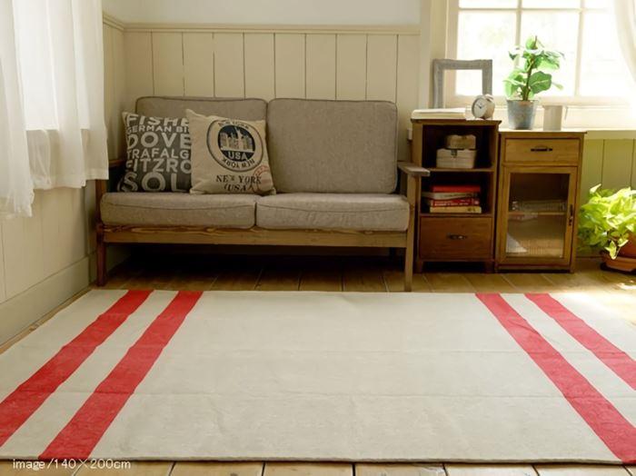 シェニール織 デザインラインラグマット レッド