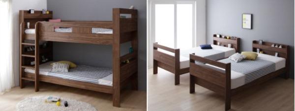 2段ベッドにもなるワイドキングサイズベッド【Whentoss】ウェントス 2段で使用