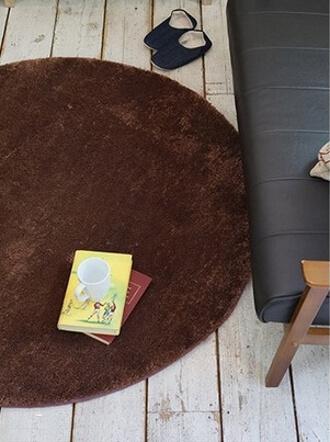 白い床とブラウンのラグ