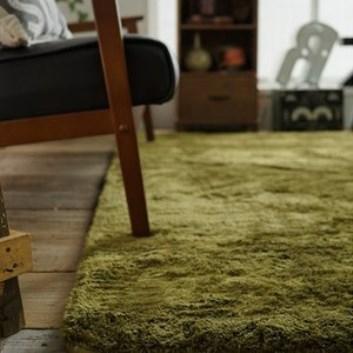 ライトブラウンの床とモスグリーンのラグ