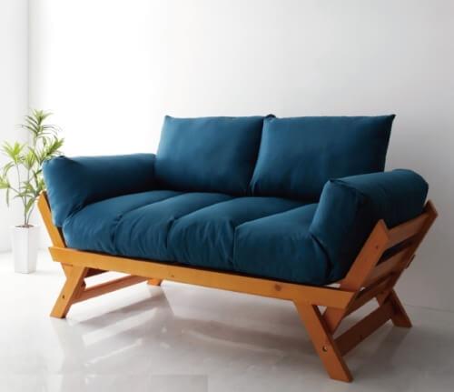 天然木パイン材フレームのソファー【Lapua】ラプア ネイビー