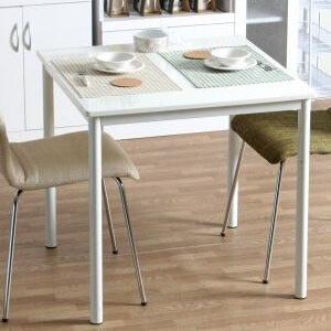 ダイニングテーブル ホワイト スチールフレーム75cm