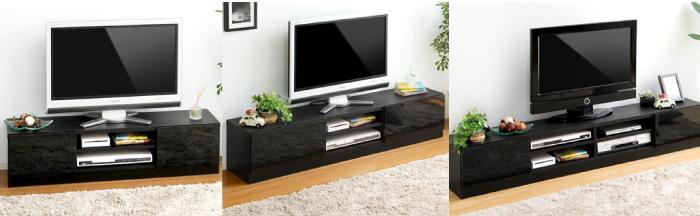 鏡面ブラックテレビ台