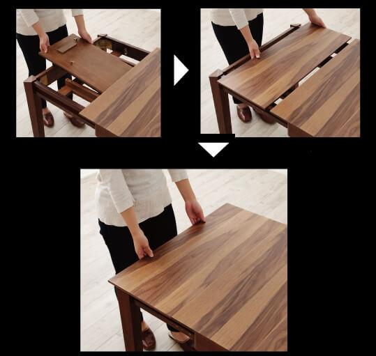 天然木ウォールナットエクステンションテーブルの伸ばし方