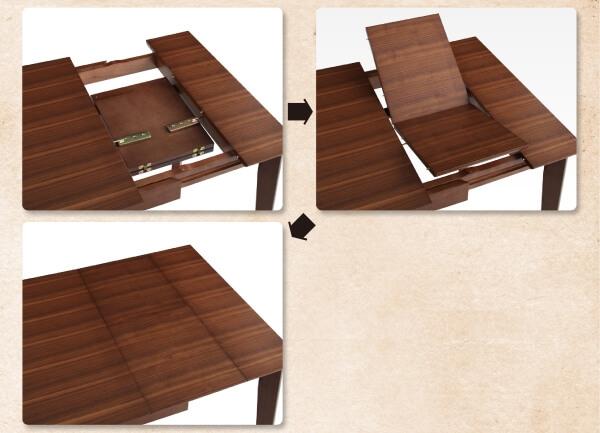 ヴィンテージテイスト伸長式ダイニングテーブルの伸長方法