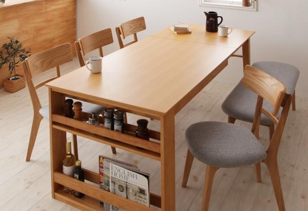 天然木オーク材伸長式ダイニングテーブル セット