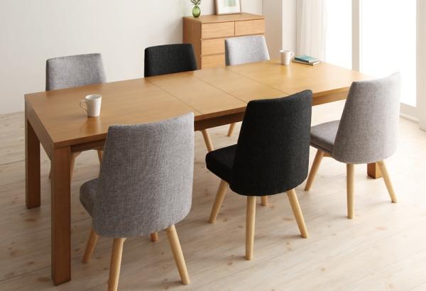 天然木タモ材伸長式ダイニングテーブル セット