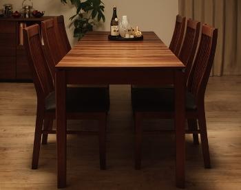 伸長式ダイニングテーブル+PVCレザーチェアセット