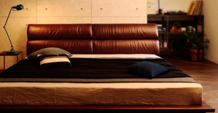 男前ベッド ブラウンレザー 大型ベッド