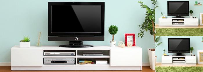 鏡面ホワイトテレビ台