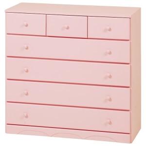 チェスト 5段 木製(桐材) MCH-6893PI ピンク