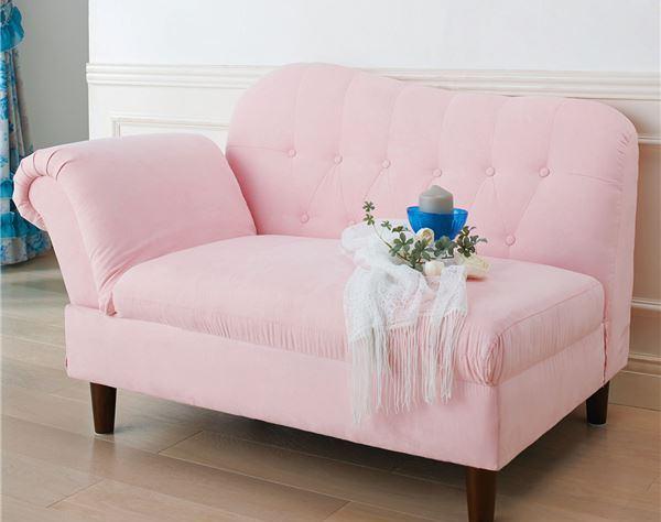 プリンセスロイヤルソファー 【1: 2人掛け】 ピンク/ファブリック 肘部6段階リクライニング