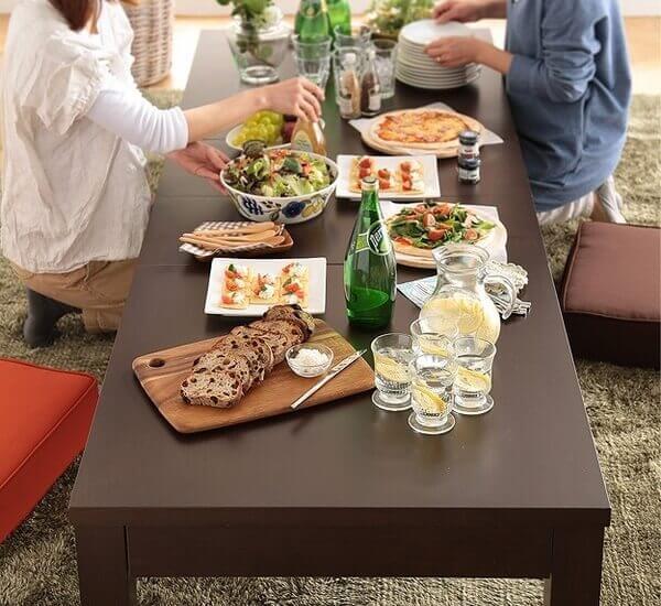 伸長式ローテーブル グランデネオ ダークブラウン