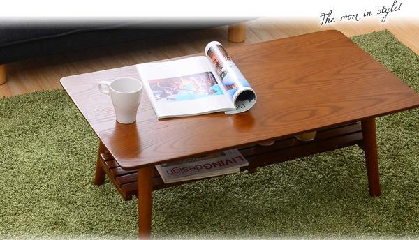 棚付き脚折れ木製ローテーブル【-Horia-ホリア】