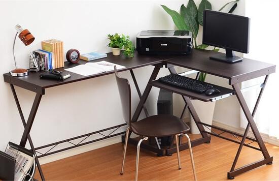 キーボードテーブル付きL字型パソコンデスク ブラウン