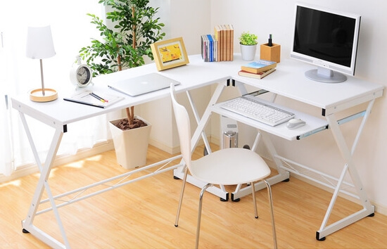キーボードテーブル付きL字型パソコンデスク ホワイト