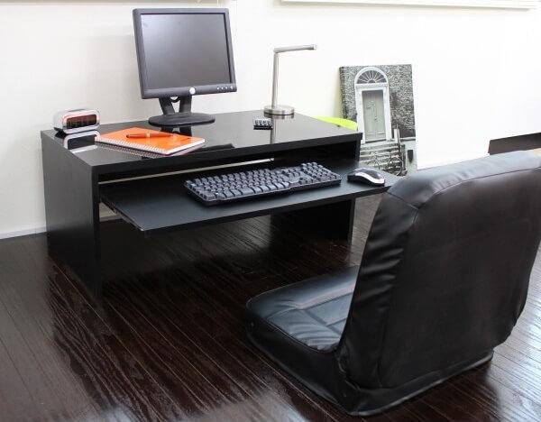 パソコンデスク90cm幅 ロータイプ ブラック