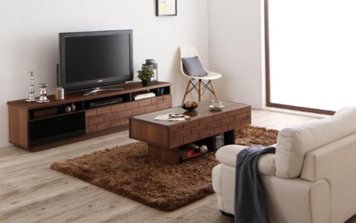 レンガ調デザインのテレビ台とテーブル