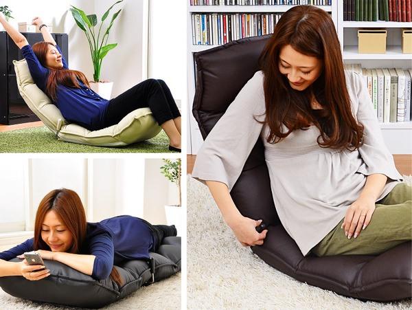 レバー付きリクライニング座椅子 【New Shell】ニューシェル PVCタイプ