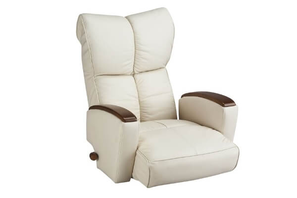 肘掛け付き本革回転座椅子【風雅】