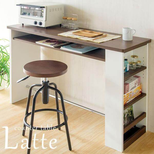 カウンターテーブル 2口コンセント付き ホワイト(白)