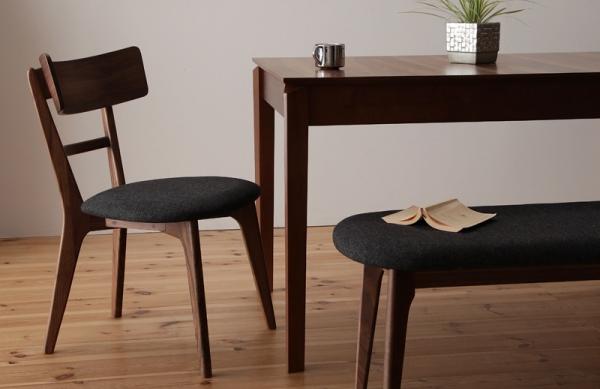 6人用 天然木ウォールナットエクステンションダイニングテーブル【Nouvelle】ヌーベル