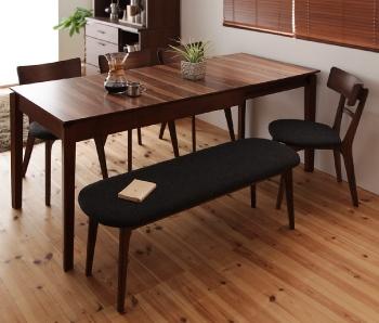 6人用 天然木ウォールナットエクステンションダイニングテーブル【Nouvelle】ヌーベル ベンチ