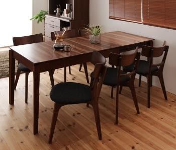 6人用 天然木ウォールナットエクステンションダイニングテーブル【Nouvelle】ヌーベル チェア×6