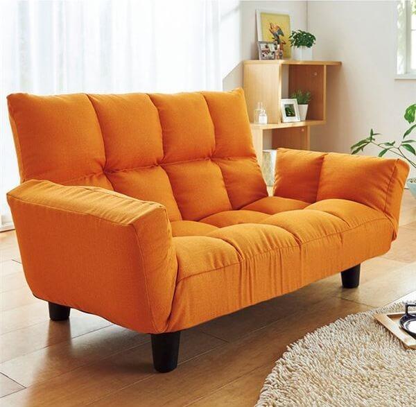 ふっくらリクライニングソファー オレンジ