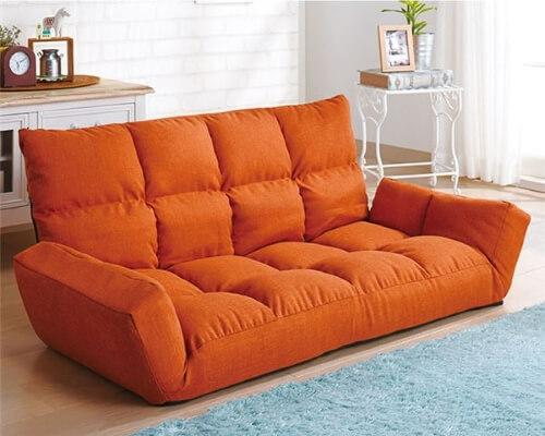 ふっくらリクライニングソファ オレンジ