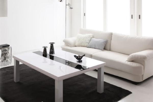鏡面ホワイトのおしゃれこたつテーブル
