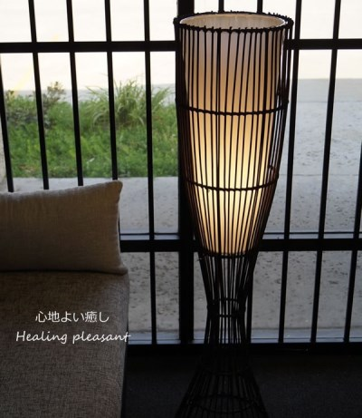 フロアライト 竹製アジアンテイスト 小ぶり