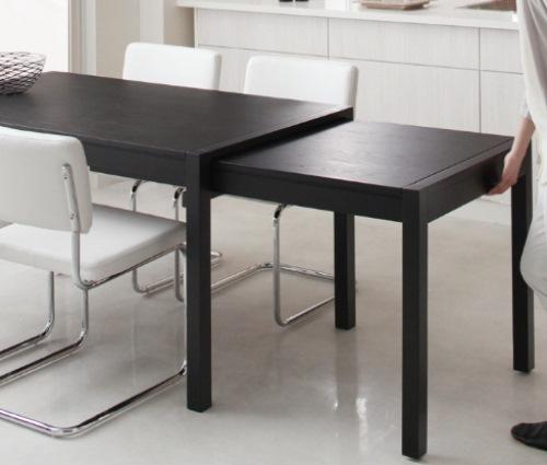 白いチェアの伸縮ダイニングテーブル【Blade】ブレイド