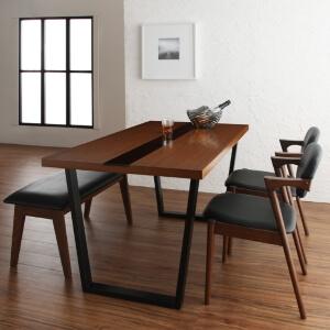 木目とブラックガラスとスチール脚のダイニングテーブル【Carin】カーリン