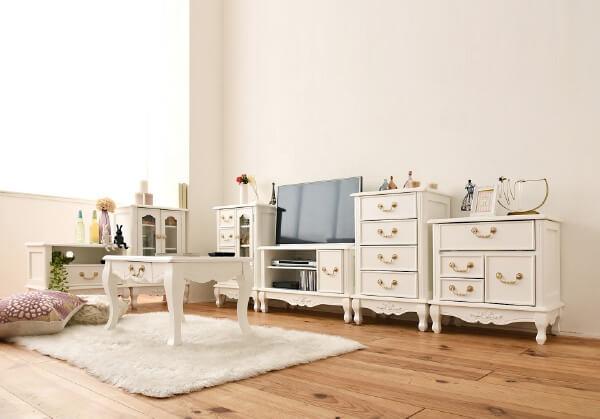 猫足ホワイト家具クラシックシリーズ