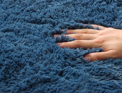 マイクロファイバーシャギーラグ ブルー