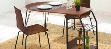 ウォールナットブラックスチールデザインダイニングテーブル