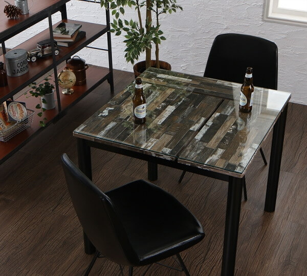 ヴィンテージデザインガラスダイニングテーブル【volet】ヴォレ