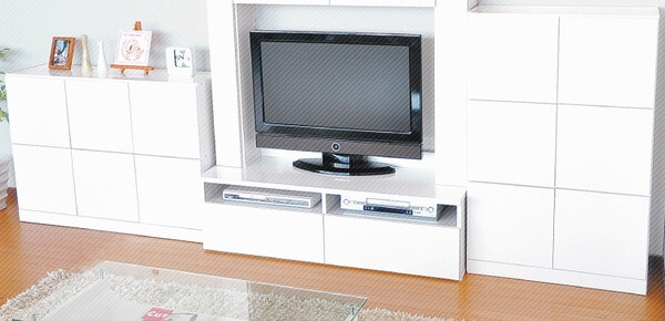 鏡面ホワイトのテレビ台・キャビネット