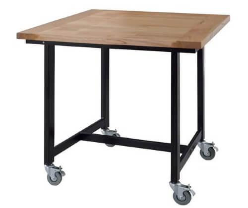 ダイニングテーブル2人用キャスター付きスチール脚