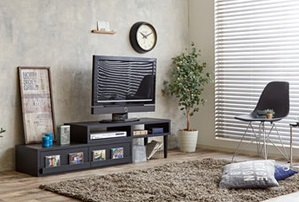 伸縮・回転式テレビボード【AUTICA】ブラック